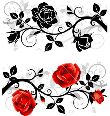 380x400 Ornament With Roses Vector 1099490