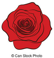 180x195 Rose Silhouette Isolated On White Background. Vector Clipart