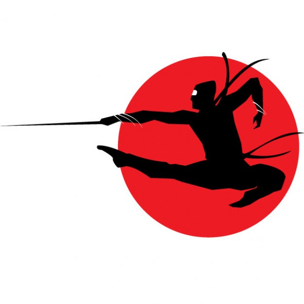 626x626 Ninja Silhouette On Red Circle Background Vector Free Download