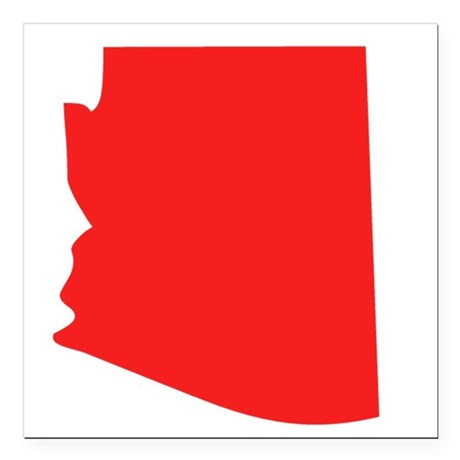 460x460 Red Arizona Silhouette Square Car Magnet 3 X 3 By Stateshapesgifts