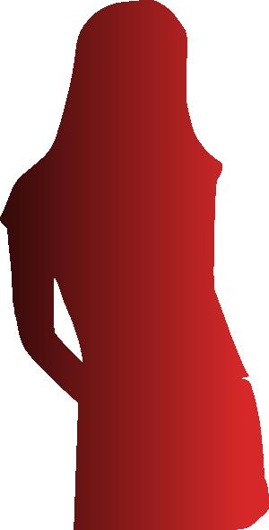 300x590 Red Shade Silhouette Woman Clip Art