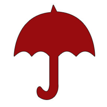 350x350 Red Silhouette Of An Umbrella Clipart Picture
