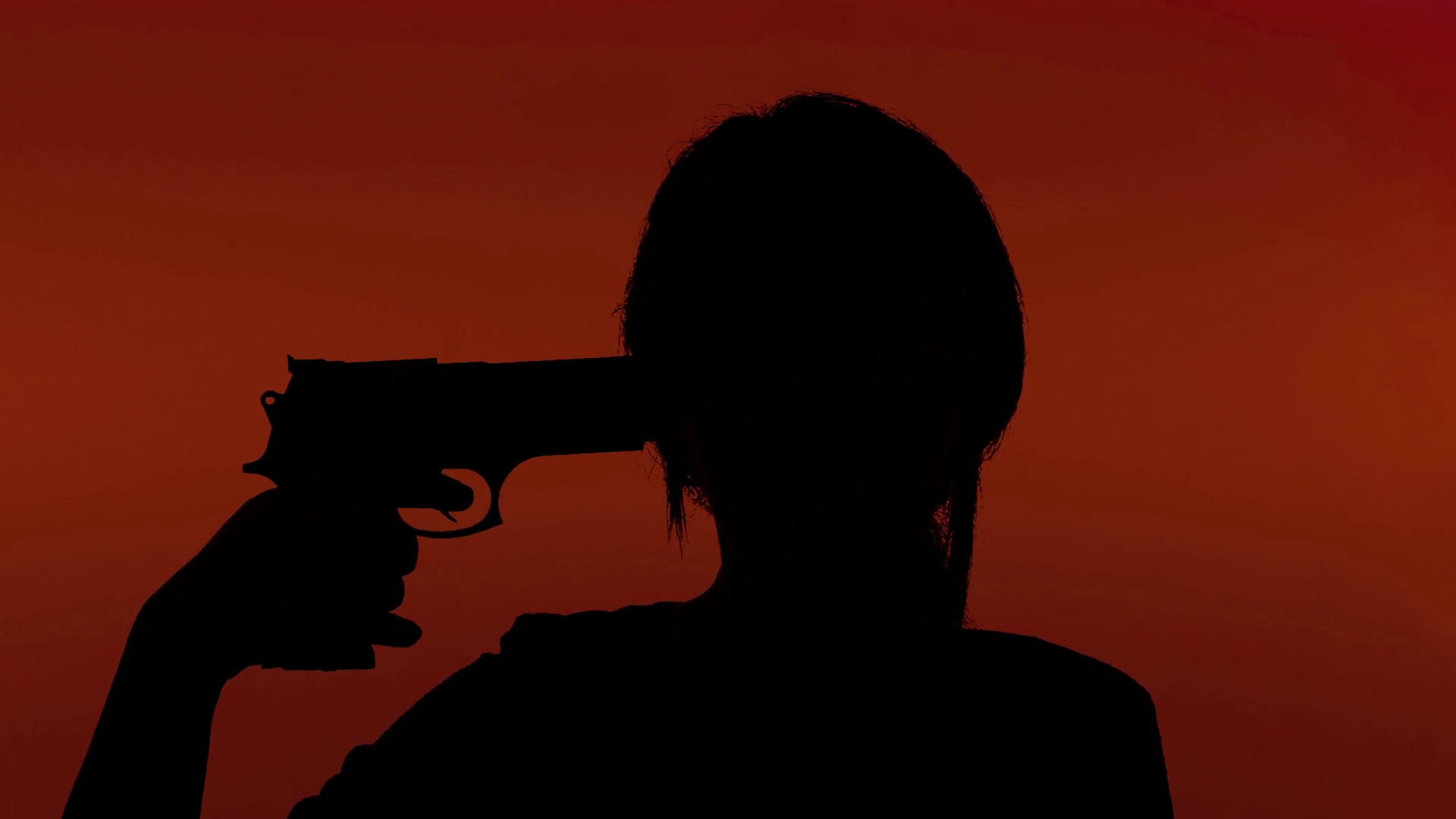 1920x1080 Silhouette Man Gun Attempting Suicide Red. A Depressed Man Taking