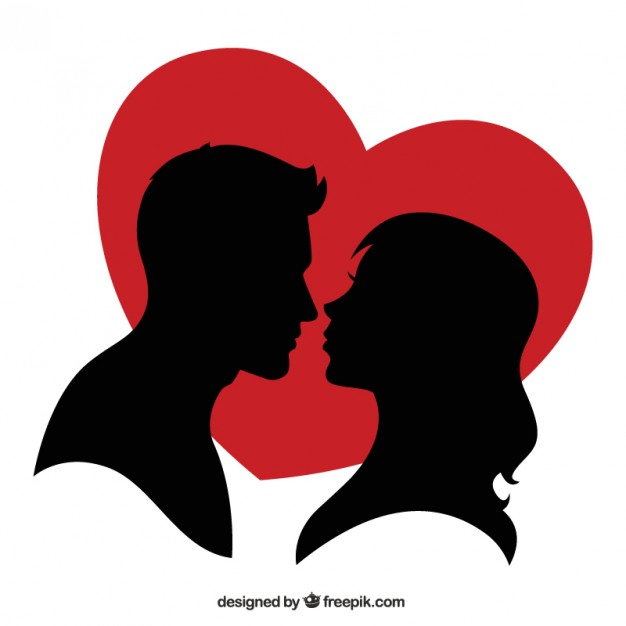 626x626 Silhouette Of A Couple And A Red Heart Vector Free Download