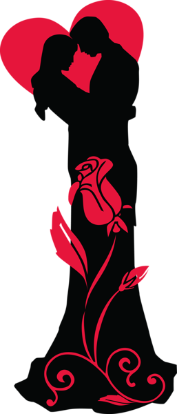 257x600 Transparent Loving Couple Silhouettes With Red Heart And Rose Png