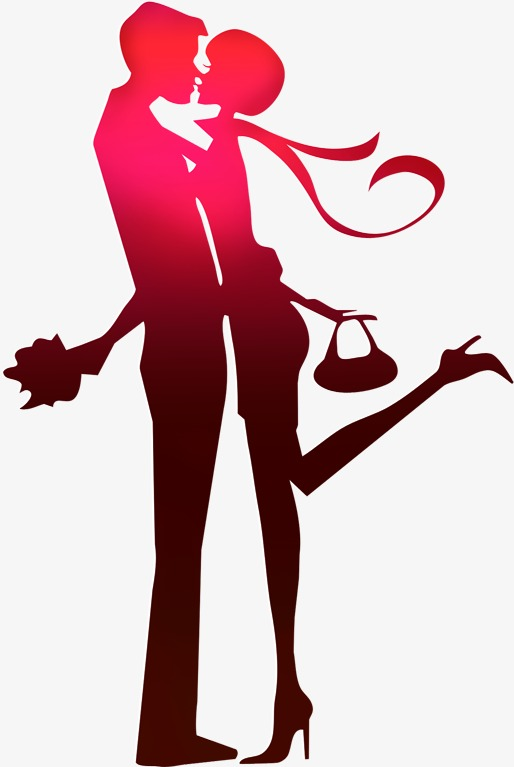 514x767 Couple Silhouette Figures Painted Red, Red, Lovers, Sketch Png