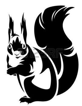 271x350 Dieren van het bos%3a zitten eekhoorn %28sciurus%29  +zwart Wit