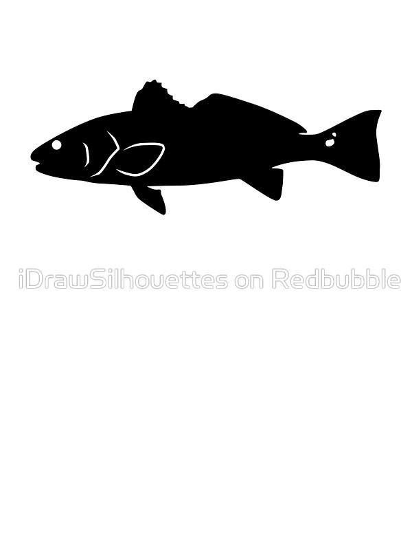 600x800 Redfish Fish Silhouette (Black) Stickers By Idrawsilhouettes