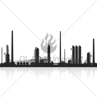 325x325 Oil Refinery Or Chemical Plant Silhouette. Gl Stock Images
