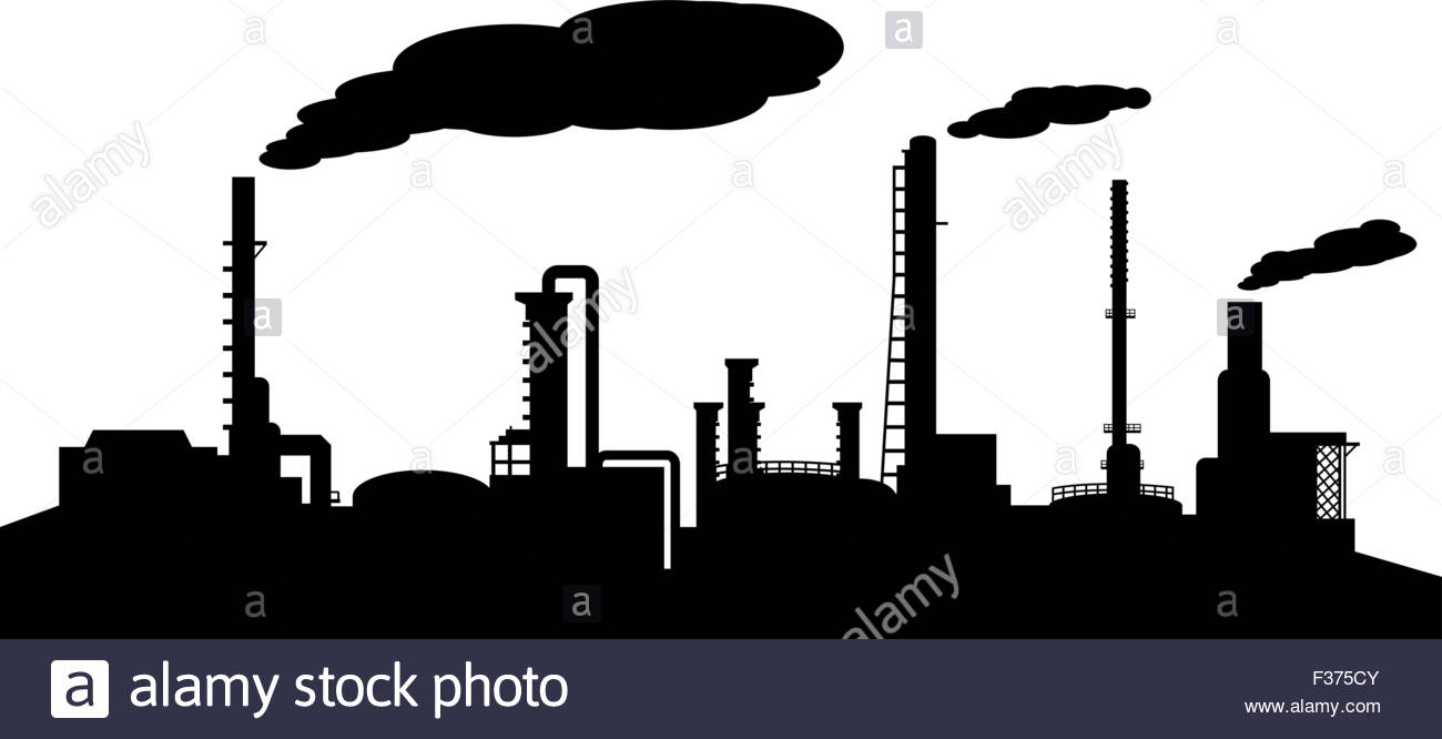1300x666 Oil Refinery Industry Silhouette Vector Stock Vector Art
