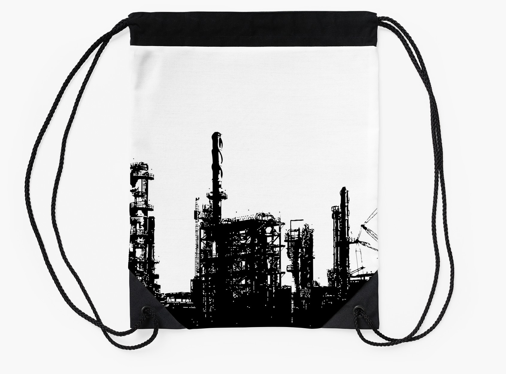1690x1250 Vintage Oil Refinery Architectural Silhouette Drawstring Bags By