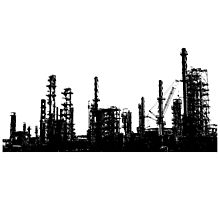 220x200 Vintage Oil Refinery Architectural Silhouette Throw Pillows By