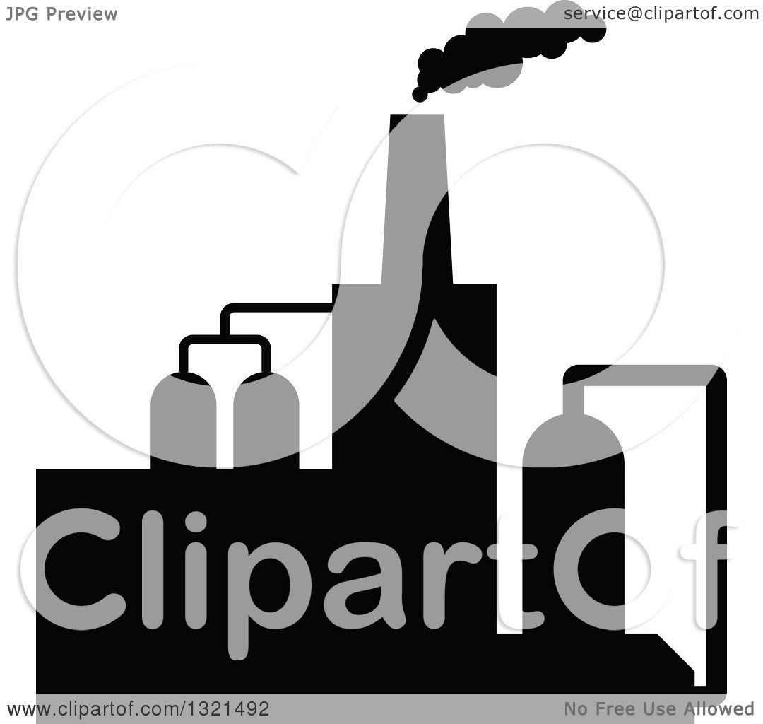 1080x1024 Clipart Of A Black Silhouetted Refinery Factory 28