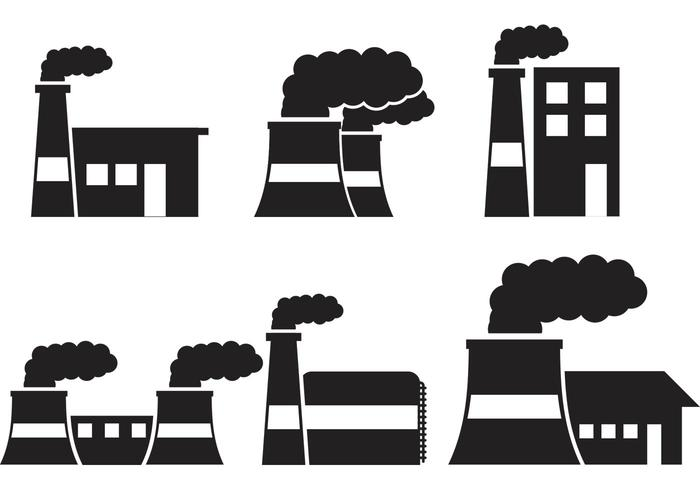 700x490 Factory Silhouette Vector Icons