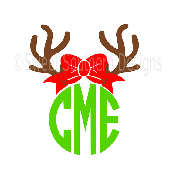 570x570 Reindeer Antler With Bow Monogram Deer Svg Instant Download