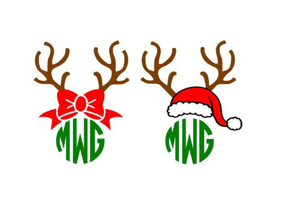 570x449 Christmas Reindeer Antlers Bow Santa Hat Monogram Cutting File Svg
