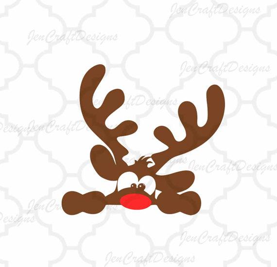 570x550 Peeking Christmas Reindeer Svgeps Png Dxf Peeping Reindeer