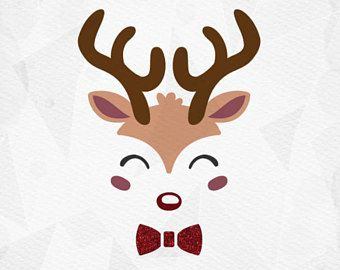 340x270 Reindeer Face Svg Reindeer Svg Bow Tie Cricut Silhouette Pdf Png