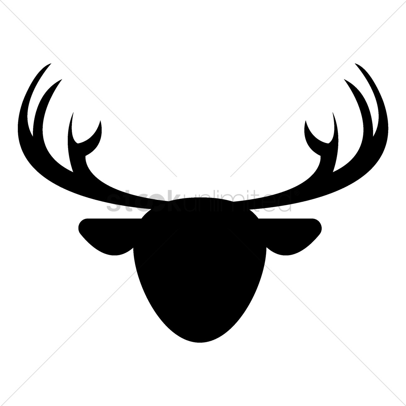 1300x1300 Silhouette Of Reindeer Face Vector Image