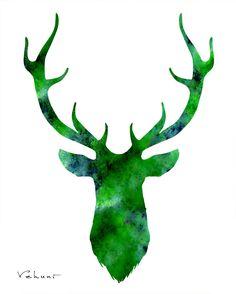 236x294 Deer Head 2 Blue Original Painting On Canvas By Fluiddiamondart