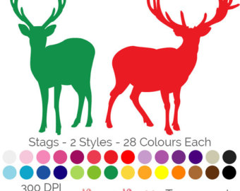 340x270 Deer Silhouettes Clip Art, Rainbow Deer Clipart, Colorful Deer