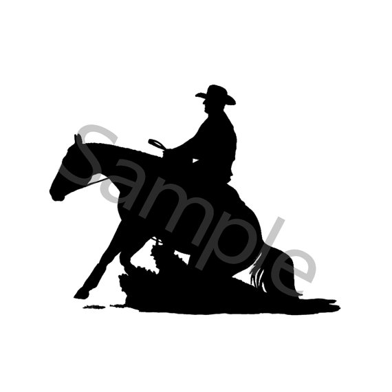 570x570 Reining Horse Sliding Silhouette Image Png File 300 Dpi