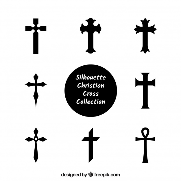 626x626 Silhouette Christian Cross Collection Vector Free Download