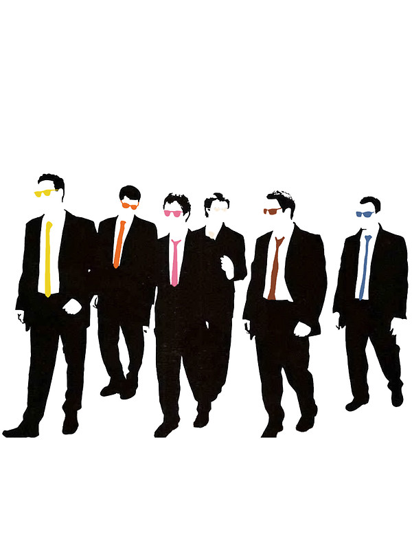 600x800 Reservoir Dogs With Colored Ties And Glasses Stickers By