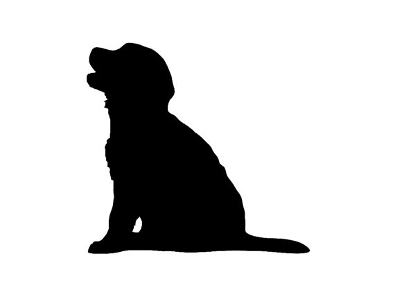 570x428 Golden Retriever Puppy Dog Breed Silhouette Custom Die Cut