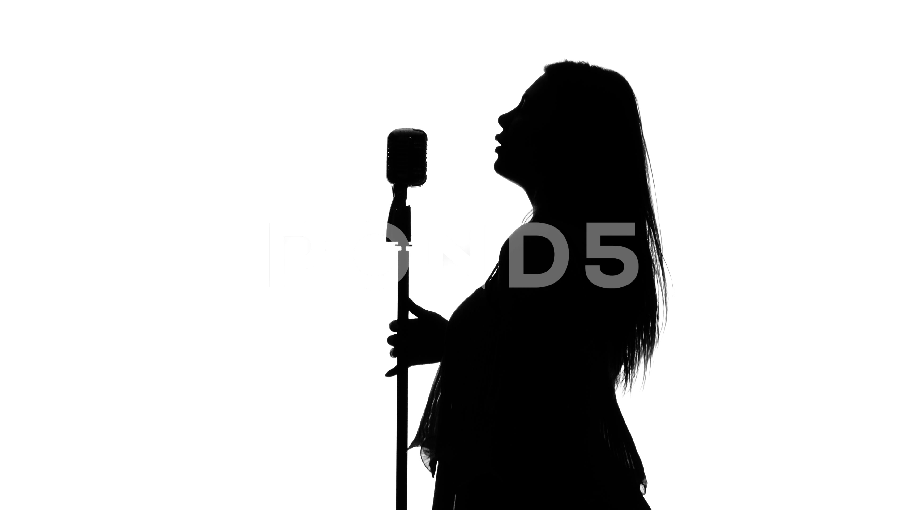 3840x2160 Singer With Retro Microphone. White. Silhouette ~ Hi Res
