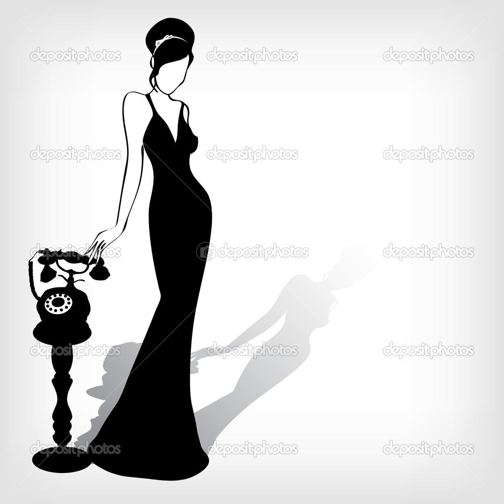 1024x1024 Woman Silhouette The Vector Vintage Retro Woman Silhouette