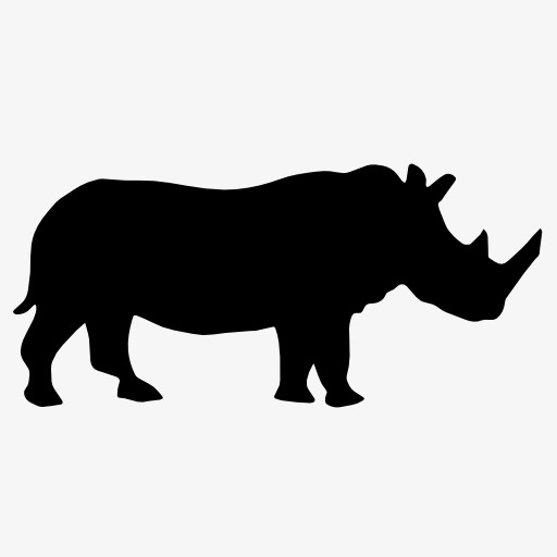 512x512 Rhino Silhouette, Animal, Projection, Black Silhouette Png Image
