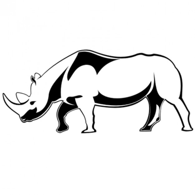 626x626 Angry Rhino Illustration In Black And White Vector Free Download