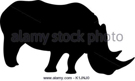 450x271 Rhinoceros Mammal Black Silhouette Animal Stock Vector Art