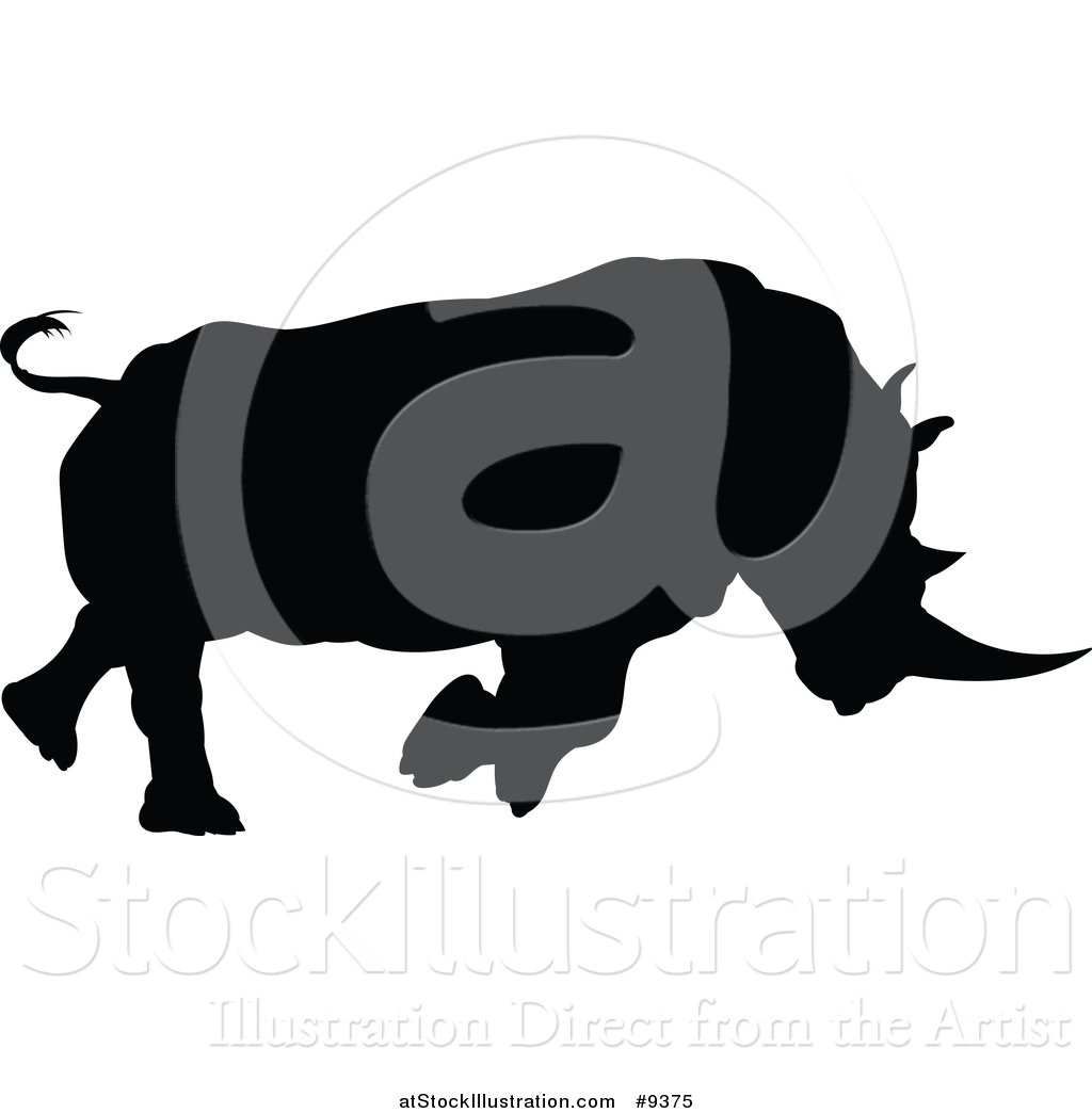 1024x1044 Vector Illustration Of A Black Silhouetted Rhinoceros Charging By