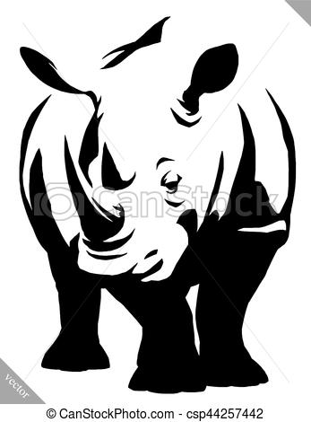 347x470 Black And White Linear Paint Draw Rhino Vector Illustration