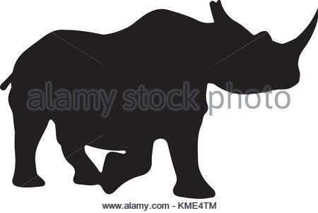 450x302 Vector Illustration Of Rhinoceros Silhouette Stock Vector Art