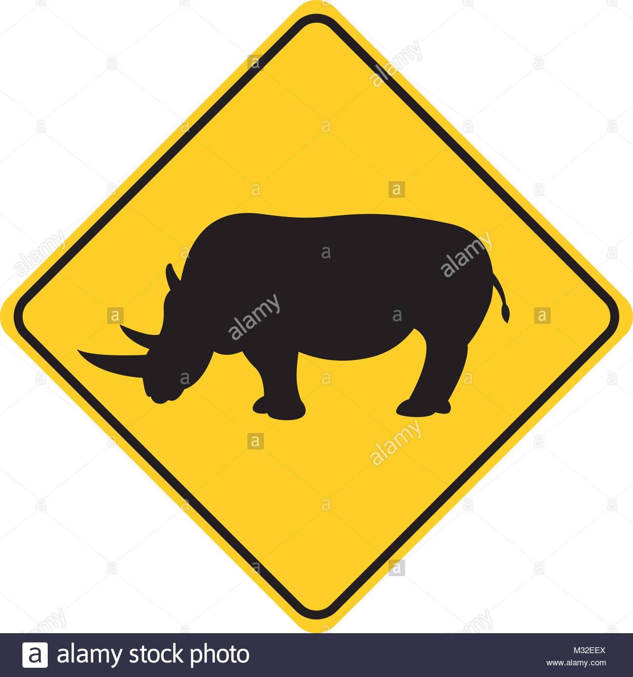 1300x1390 Rhino Silhouette Animal Traffic Sign Yellow Vector Illustration