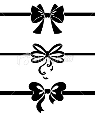 310x380 Set Of Bow, Black And White Vector Illustration Silhouettes