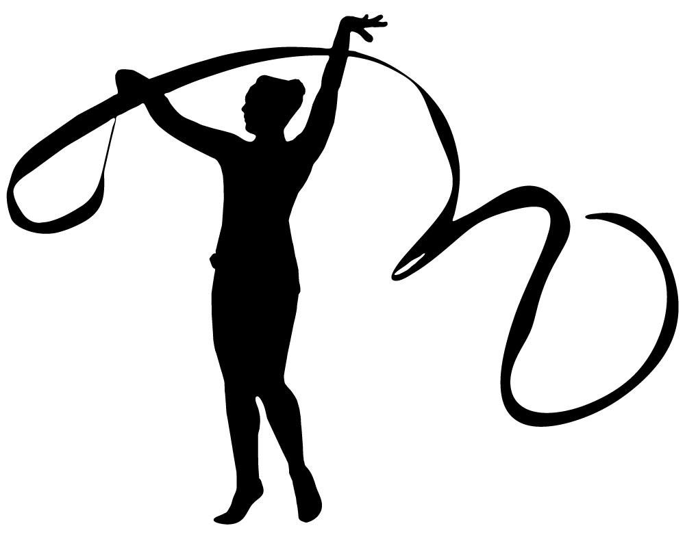 1000x788 Gymnastics Silhouette Style Ribbon Dance Wall Decal Wallmonkeys