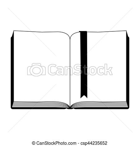450x470 Monochrome Silhouette With Open Book With Ribbon In Blank