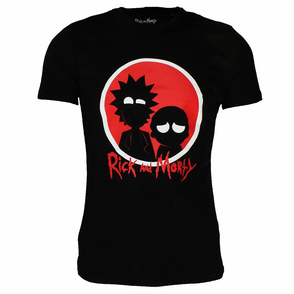 1000x1000 Rick And Morty Silhouette T Shirt Blackred