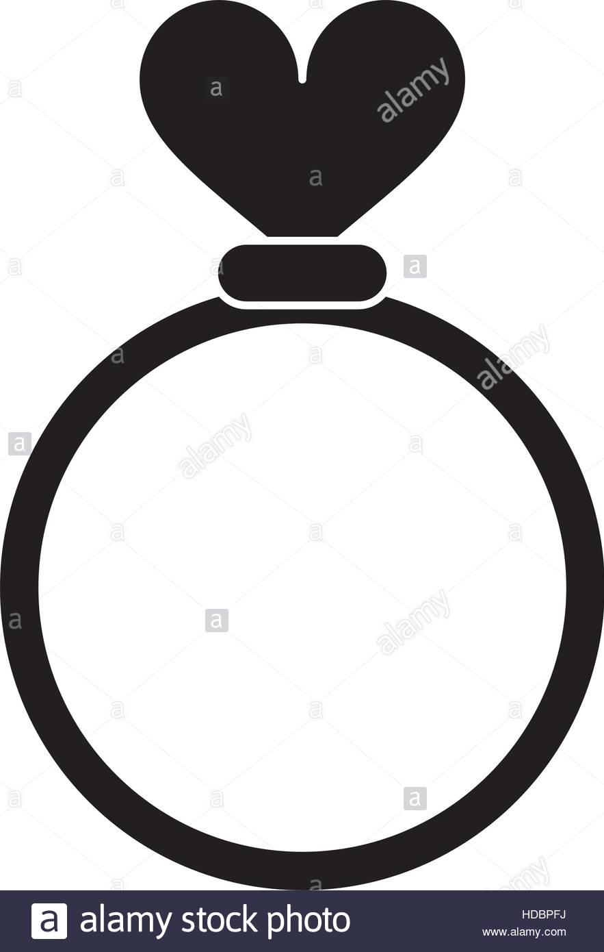 883x1390 Silhouette Romance Rings Love Heart Wedding Symbol Stock Vector