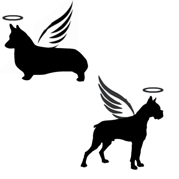 570x570 Angel Dog Silhouette Personalized Memorial Vinyl Decal Pet