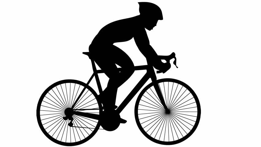 852x480 Road Bike Silhouette Alpha Channel Stock Footage Video 9686000