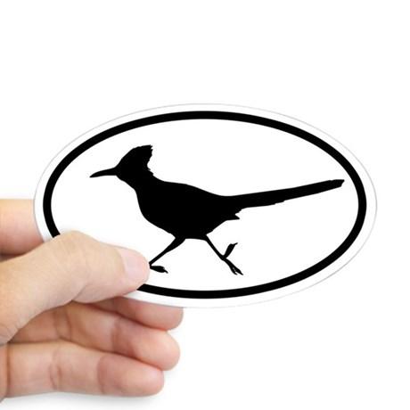 460x460 Roadrunner Oval Oval Sticker Lt @ Magnificent Frigatebird