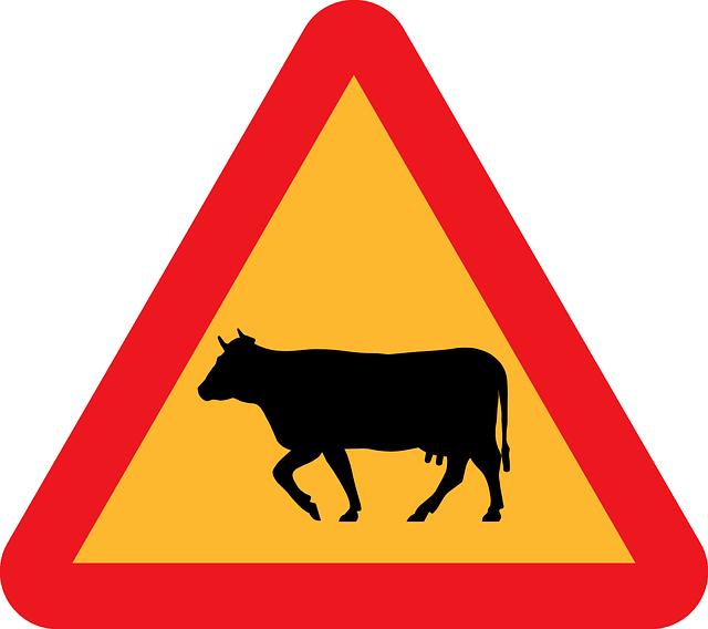 640x568 Sign, Silhouette, Traffic, Farm, Cow, Transportation