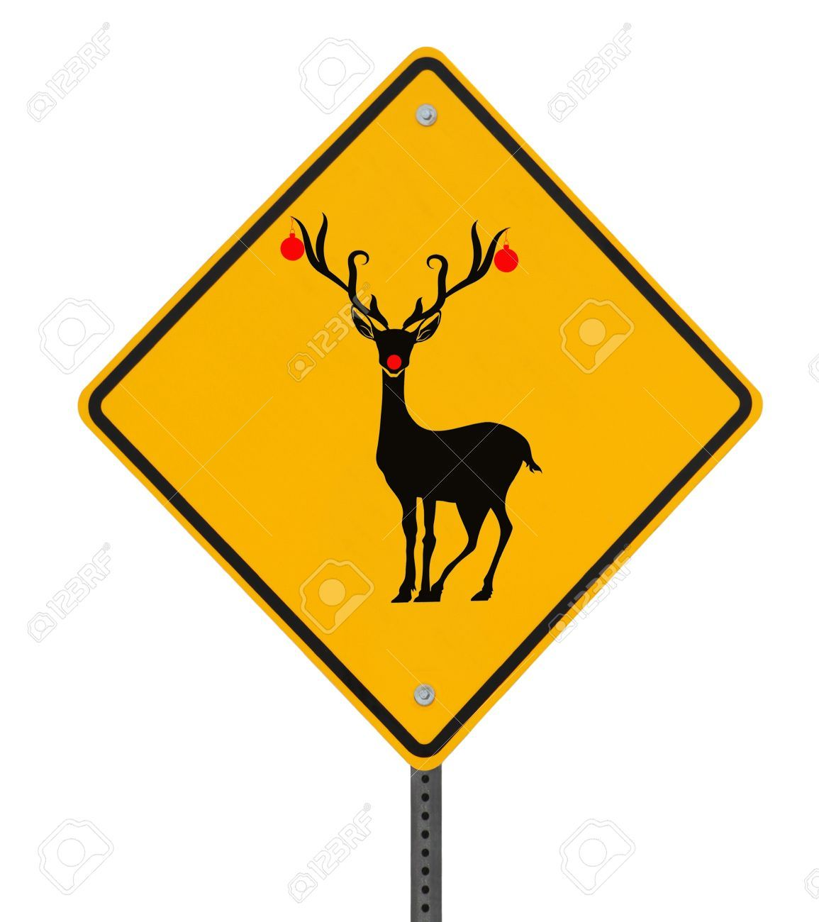 1155x1300 Christmas Road Sign Modified Road Sign With A Red Nosed Reindeer