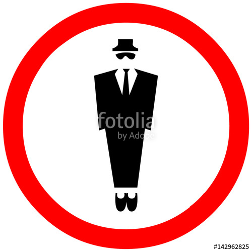 500x500 Mafia Silhouette Of A Man In A Hat Warning Sign. Red Circle Road