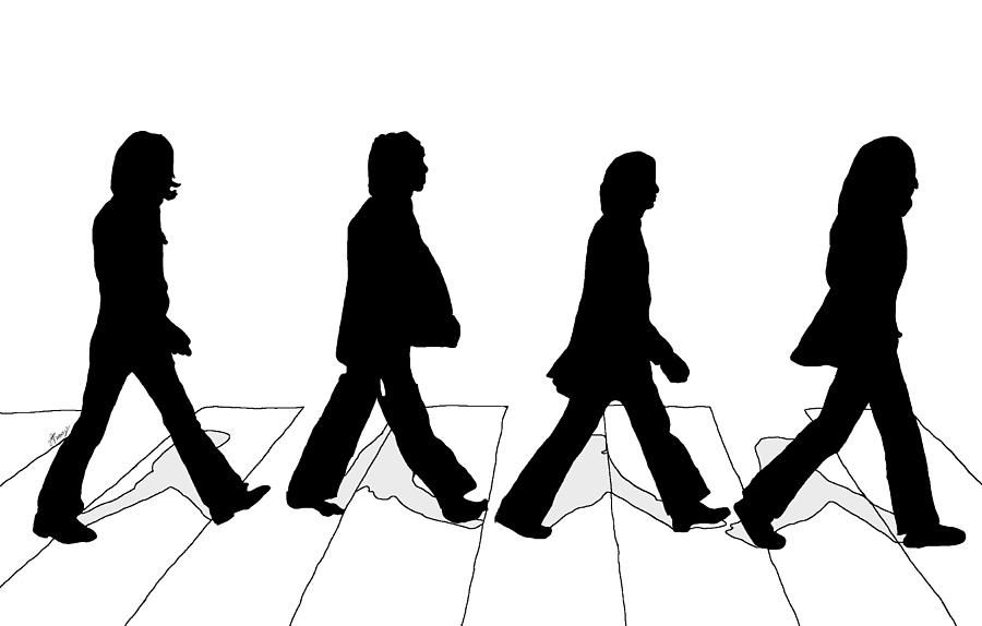 900x574 The Beatles Abbey Road Silhouette Drawing Canvas Print Canvas